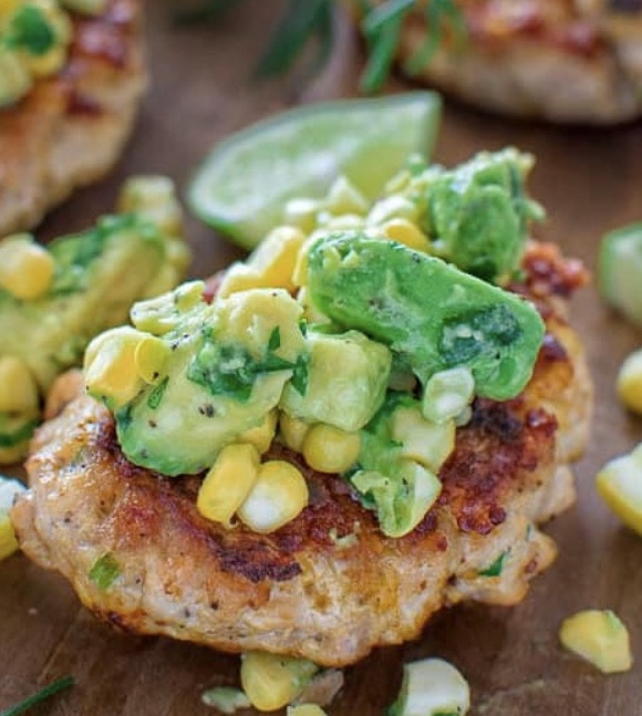 Chicken Burgers with Avocado corn salsa!